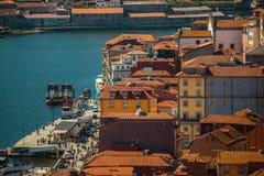 Ribeira en Douro-rivier in Porto, Portugal Reis Stock Foto's