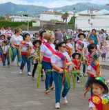 Cavalcade in Ribeira Grande, Sao Miguel island, Azores, Portugal. RIBEIRA GRANDE, AZORES, PORTUGAL - JUNE 29, 2017: Children at traditional cavalcade on central Royalty Free Stock Photography