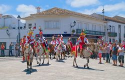 Cavalcade in Ribeira Grande, Sao Miguel island, Azores, Portugal. RIBEIRA GRANDE, AZORES, PORTUGAL - JUNE 29, 2017: Traditional cavalcade on central street of Royalty Free Stock Images