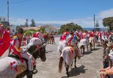 Cavalcade in Ribeira Grande, Sao Miguel island, Azores, Portugal. RIBEIRA GRANDE, AZORES, PORTUGAL - JUNE 29, 2017: Traditional cavalcade on central street of Stock Photography