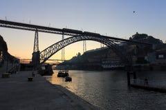 Ribeira of Porto at dawn Royalty Free Stock Photos