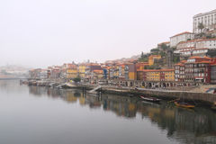 Ribeira of Porto in the morning mist Royalty Free Stock Image