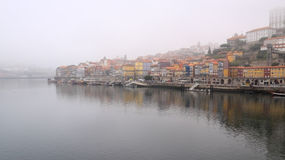 Ribeira of Porto in the morning mist Royalty Free Stock Photography
