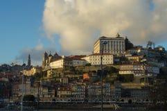 Ribeira and Se cathedral at sundown. View of Ribeira and Porto Cathedral at sundown Royalty Free Stock Photo