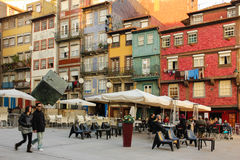 Ribeira square in the old town. Porto. Portugal. Picturesque and colorful buildings in Ribeira square by the river Douro. Porto. Portugal stock photography