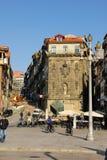 Ribeira vierkant in de oude stad. Porto. Portugal stock fotografie