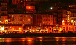 Ribeira view at night in Oporto stock photo
