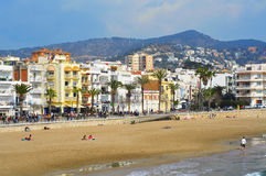 Ribera Beach in Sitges, Spain Royalty Free Stock Images