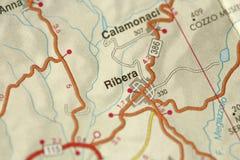 Ribera carte Les îles de la Sicile, Italie Images stock
