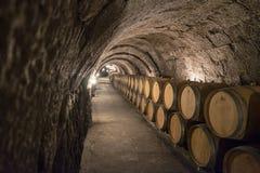 Ribera del Duero Hiszpania, Październik, - 14, 2017: Wino baryłki w Podziemnym lochu Fotografia Stock