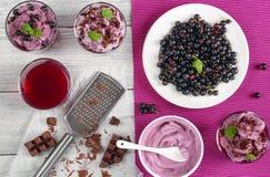 Ribes neri sul piatto e sul gelato stratificato Fotografia Stock