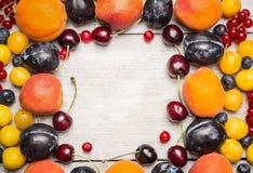 ribes rosso, prugne, more, ciliegia, mirtilli, albicocche su un fondo bianco, vista superiore, struttura immagine stock