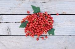 Ribes rosso su fondo di legno rustico con spazio per testo Fotografia Stock Libera da Diritti