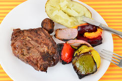Ribeye with Grilled Vegetables Stock Photo