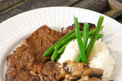 Ribeye meal cooked stock photos