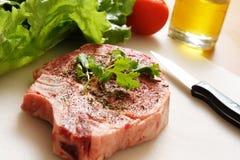 Ribeye steak. Being prepared for cooking Stock Image