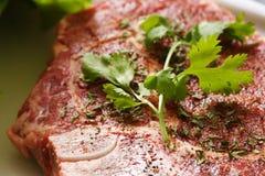 Ribeye steak. Seasoned ribeye steak being prepared for cooking Stock Photography