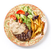 Ribeye steak dinner from above Stock Photography