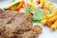 Ribeye steak and salad Stock Photography
