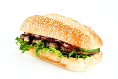 Ribeye steak in sesame seed bun Royalty Free Stock Photos
