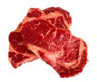 Ribeye steaks. Isolated on white background Stock Photo