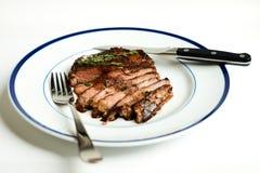 Ribeye stek na Błękitnym obręcza talerzu fotografia stock