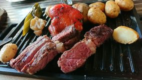 Ribeye-striplion Steak Stockfoto