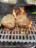 Ribeyelapje vlees bij de grill royalty-vrije stock afbeelding
