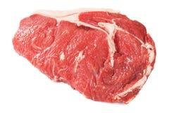 Ribeyelapje vlees op wit wordt geïsoleerd dat Royalty-vrije Stock Afbeeldingen