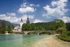 Ribicev laz in Slovenia. Ribicev Laz, touristic village on lake Bohinj in national park Triglav, Slovenia Royalty Free Stock Images