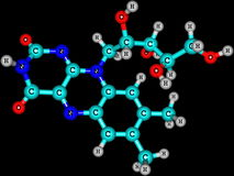 Riboflavin (B2) molecular structure on black background Royalty Free Stock Image