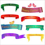 Ribon banner with butterfly. Set ribbon banner for Easter. Ribbon banner with butterfly. Vector ribbon banner Royalty Free Stock Photo