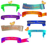 Ribon banner Happy Easter with butterfly. Set ribbon banner for Happy Easter. Ribbon banner with eggs, flowers and butterfly. Vector illustration Royalty Free Stock Image
