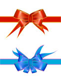 Ribon bow. Bullet Bright packaging ribbons of red and blue Stock Image
