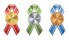 Ribon-Medaillen eingestellt Stockbild