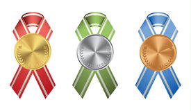 Ribon medals set. Ribon medals set on white background. Golden, silver and bronze Stock Image