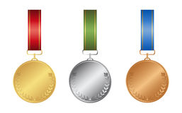 Ribon medals set. Ribon medals set on white background. Golden, silver and bronze Royalty Free Stock Photo