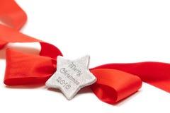 Ribow vermelho isolado com estrela Fotografia de Stock Royalty Free