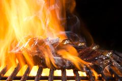 Ribs on barbecue grill Royalty Free Stock Images