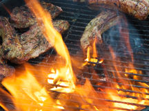 Ribs on BBQ Royalty Free Stock Images