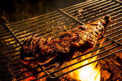 Ribs in BBQ Grill. Delicious Ribs in BBQ Grill  with flames in background Stock Photography