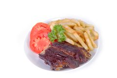 Ribs and fries Royalty Free Stock Photography