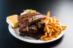 Ribs and Fries Royalty Free Stock Photos