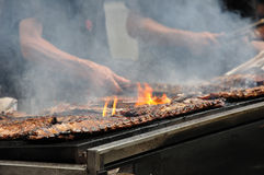 Ribs on the grill  Royalty Free Stock Photos