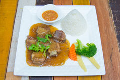 Ribs pork with sweet sauce and rice Stock Image
