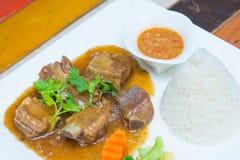 Ribs pork with sweet sauce and rice Stock Photos