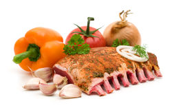 Ribs and vegetables Stock Photos