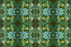 Ricamente a gema decorou o teste padrão sem emenda Verde, azul, ouro Imagem de Stock Royalty Free
