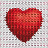 Ricamo dell'illustrazione del cuore su tessuto Immagine Stock Libera da Diritti