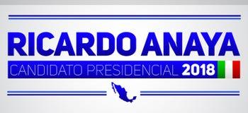 Ricardo Anaya Candidato presidencial 2018, kandyday na prezydenta 2018 hiszpański tekst, Meksykańscy wybory Obraz Stock